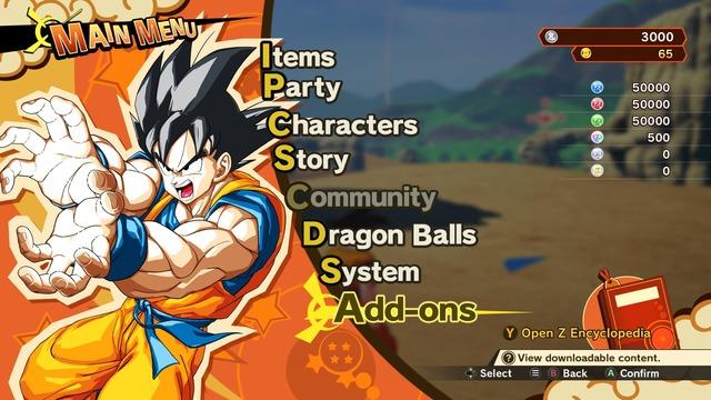 Menu de Dragon Ball Z: Kakarot