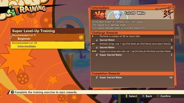 Menu d'entrainement de Dragon Ball Z: Kakarot