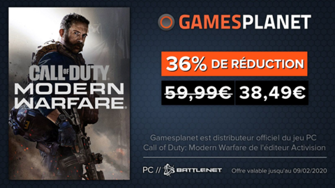 Call of Duty: Modern Warfare - Promotion Gamesplanet : Call of Duty Modern Warfare mis à jour et en promotion à 38,49 euros (-36%)