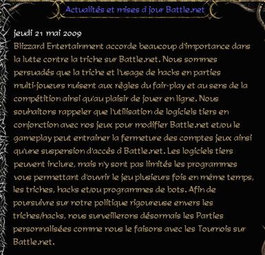 Message de Blizzard