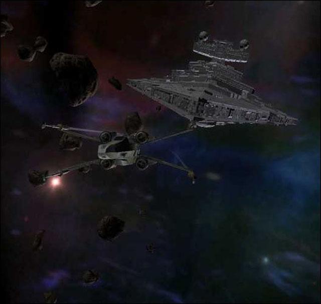 Un X-Wing poursuivit par un Croiseur Interstellaire