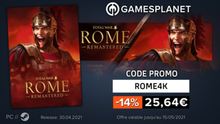 Promotions Gamesplanet : jusqu'à -14% sur Total War: Rome Remastered