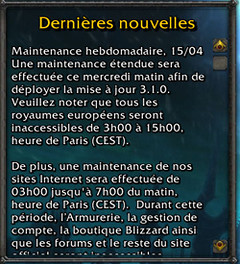 Maintenance du 15 avril prolongée