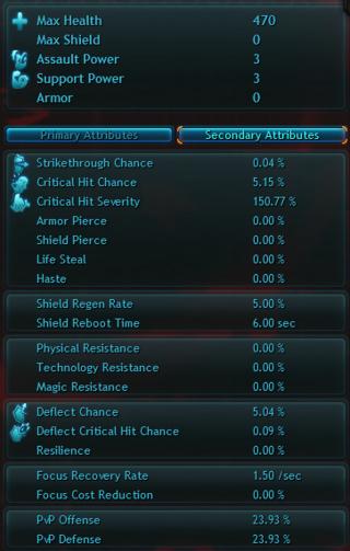 Les Attributs dans WildStar - Secondary Attributes Panel