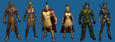 Les costumes égyptien, sparte et militaires sont trois des costumes offerts aux Membres Or