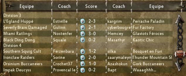 Résultats d3-d4 de la Coupe des Vices 1ère journée