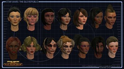 Exemple de têtes de personnages féminins